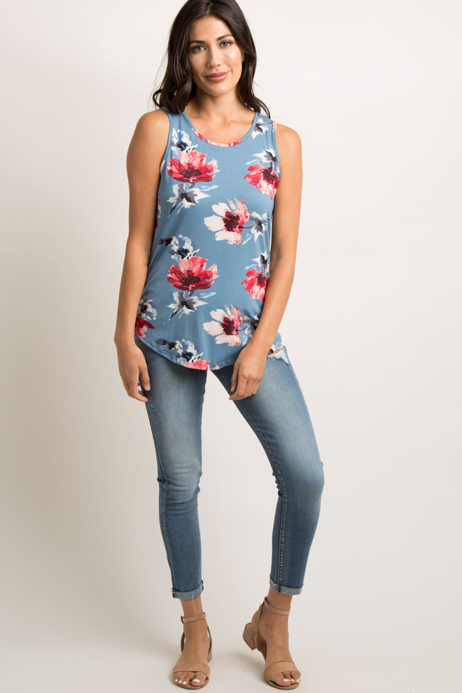Blue Floral Striped Back Tank Top