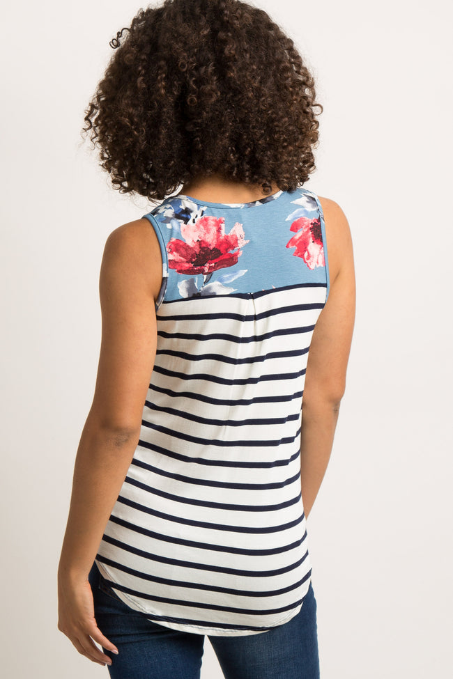 Blue Floral Striped Back Maternity Tank Top