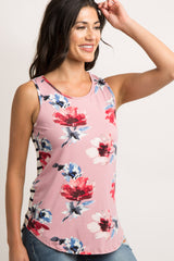 Pink Floral Striped Back Maternity Tank Top