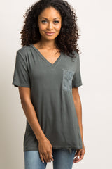 Charcoal Grey Embroidered Mesh Pocket Maternity Top