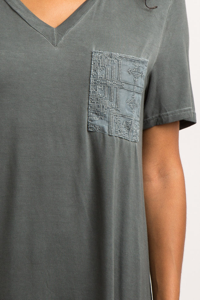 Charcoal Grey Embroidered Mesh Pocket Top