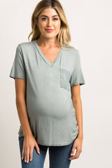 Mint Green Embroidered Mesh Pocket Maternity Top