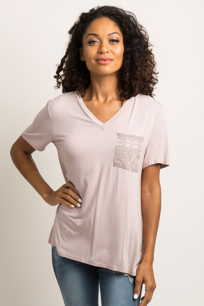 Pink Embroidered Mesh Pocket Maternity Top