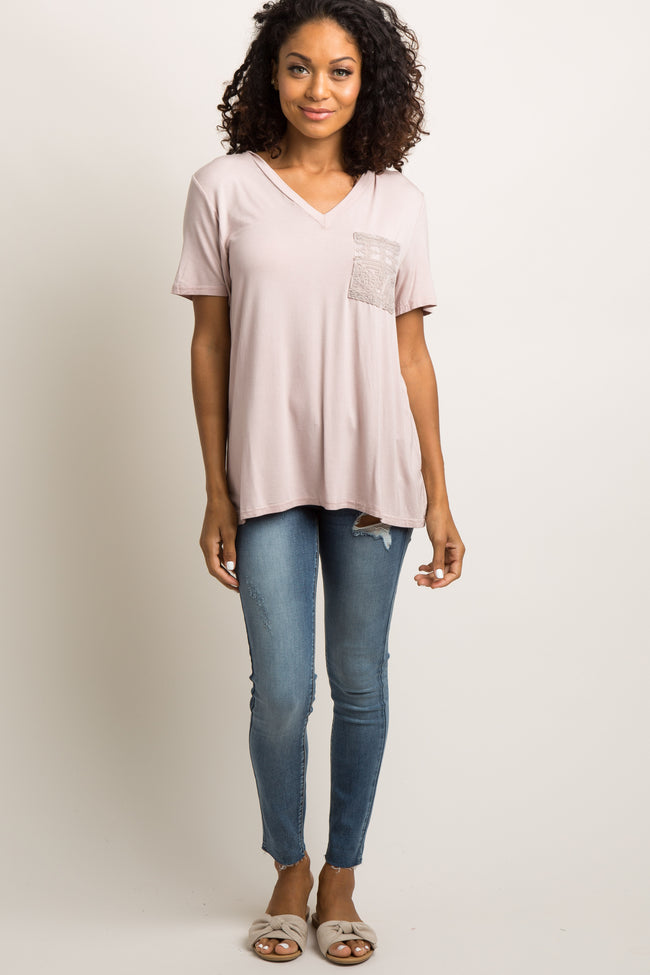 Pink Embroidered Mesh Pocket Top