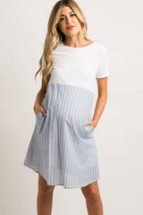 Light Blue Striped Babydoll Maternity Dress