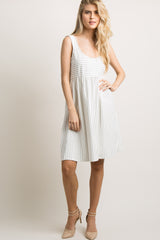 White Pinstriped Sleeveless Midi Dress