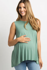 Green Peplum Back Maternity Tank Top