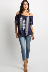 Navy Embroidered Cold Shoulder Blouse