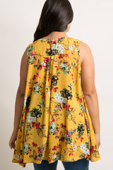 Yellow Floral Cutout Hi-Low Plus Top
