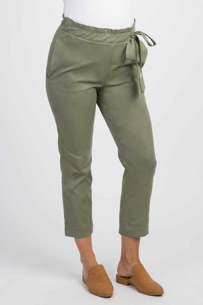Olive Solid Pleated Bow Maternity Trousers