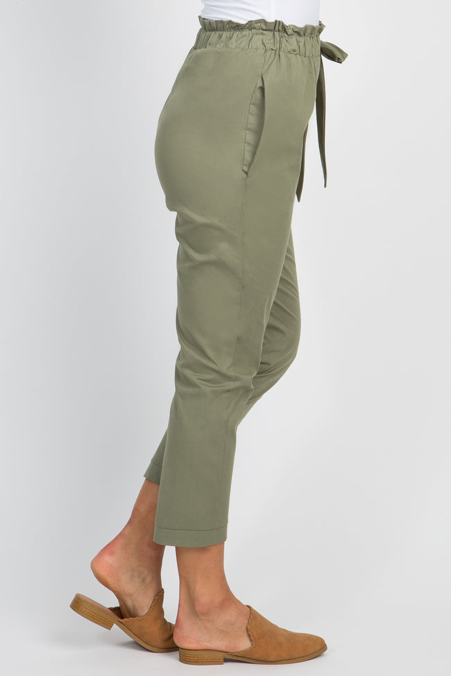 Olive Solid Pleated Bow Trousers