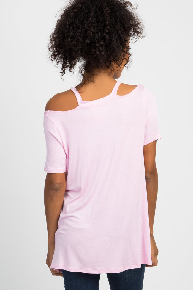 Light Pink Cutout Shoulder Top