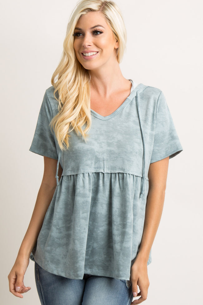 Green Mineral Wash Hooded Peplum Top
