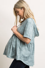 Green Mineral Wash Hooded Peplum Maternity Top