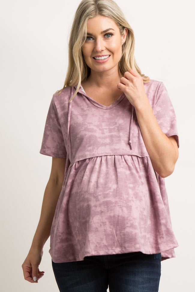 Mauve Mineral Wash Hooded Peplum Maternity Top