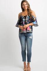 Black Floral Print Cold Shoulder Blouse