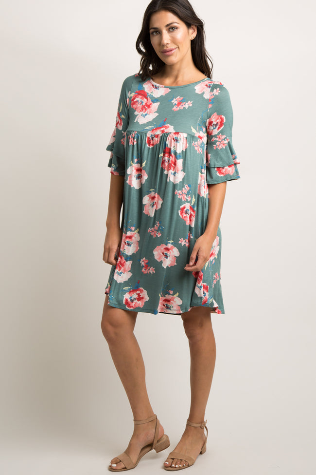 Jade Floral Crisscross Back Dress