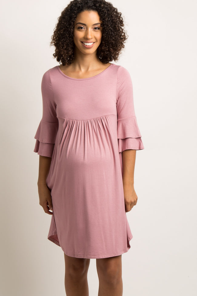 Pink Crisscross Back Babydoll Maternity Dress