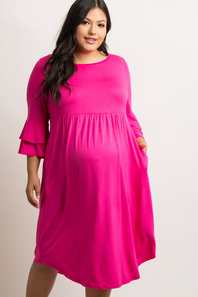 Magenta Crisscross Back Babydoll Plus Maternity Dress