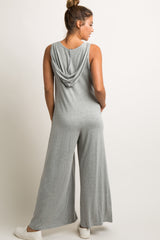 Grey V-Neck Wide Leg Hooded Jumpsuit