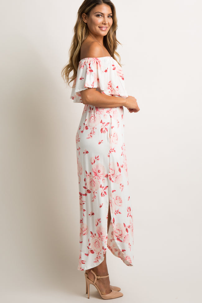 Ivory Faded Rose Print Off Shoulder Maxi