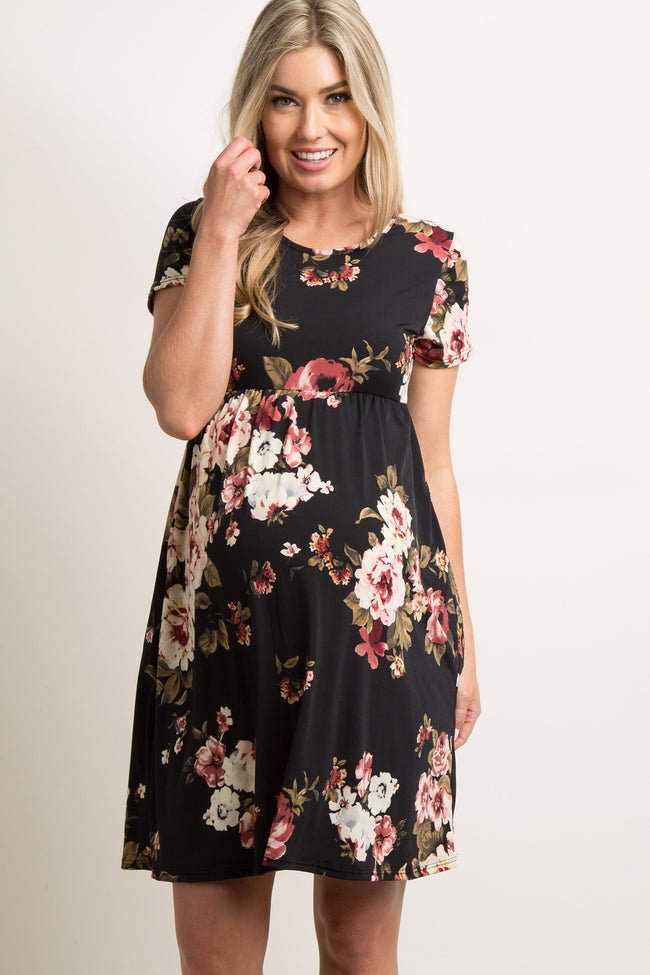 Black Rose Floral Short Sleeve Maternity Dress