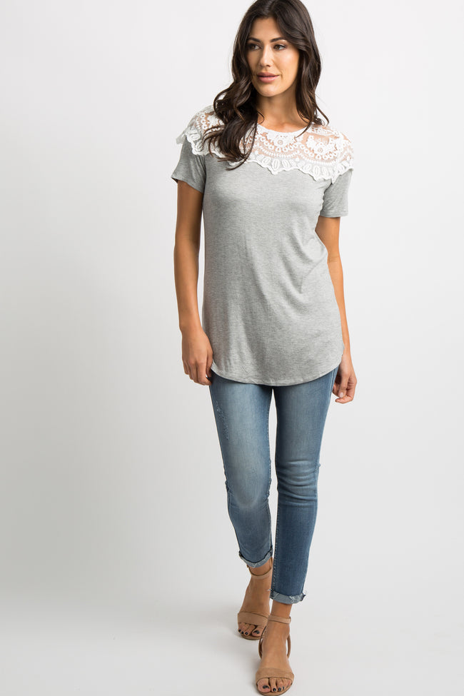 Light Heather Grey Lace Accent Short Sleeve Top