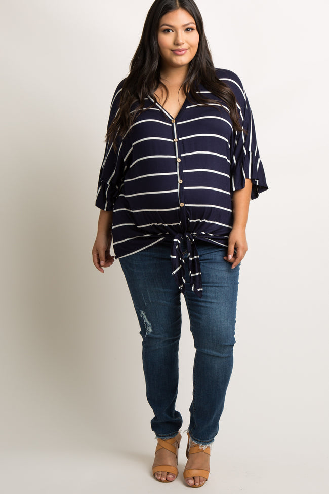 Navy Blue Striped Button Tie Front Dolman Plus Maternity Top