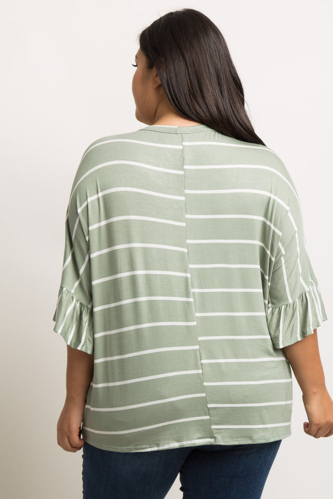 Olive Striped Button Tie Front Dolman Plus Maternity Top