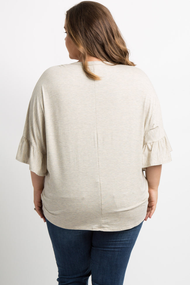 Beige Button Tie Front Dolman Plus Maternity Top