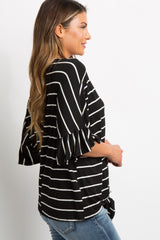 Black Striped Button Tie Front Dolman Top