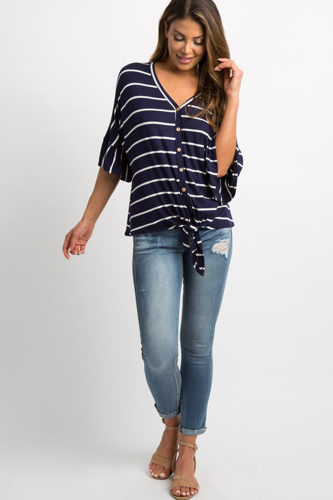 Navy Striped Button Tie Front Dolman Top