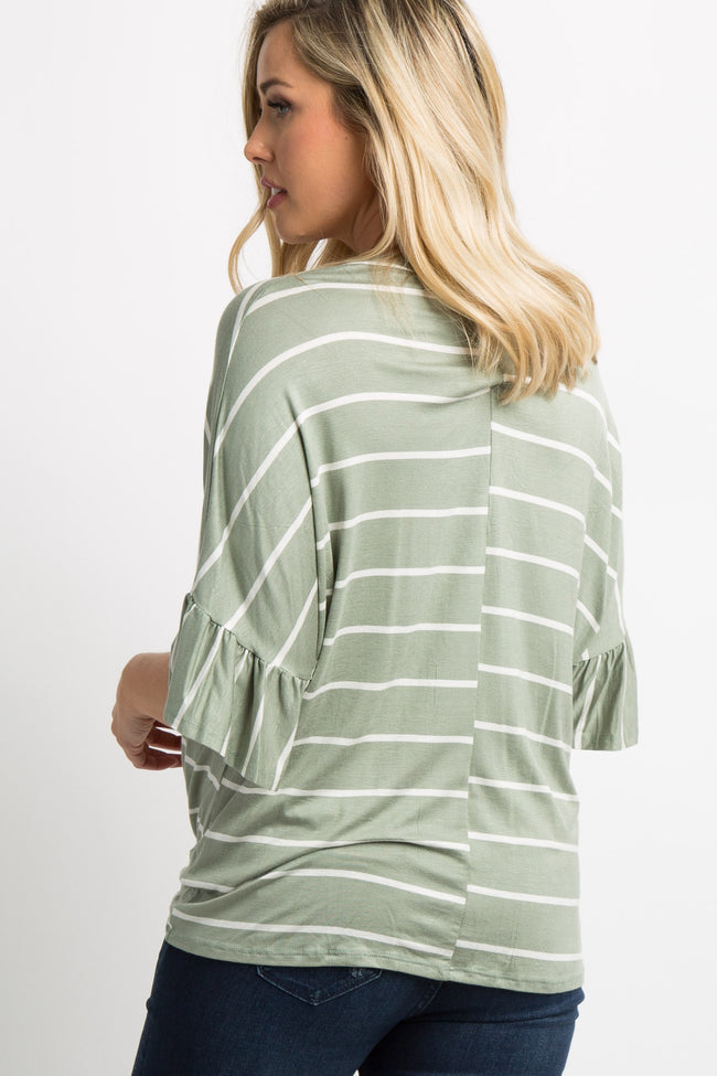 Light Olive Striped Button Tie Front Dolman Maternity Top