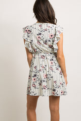 Cream Striped Floral Butterfly Sleeve Wrap Dress