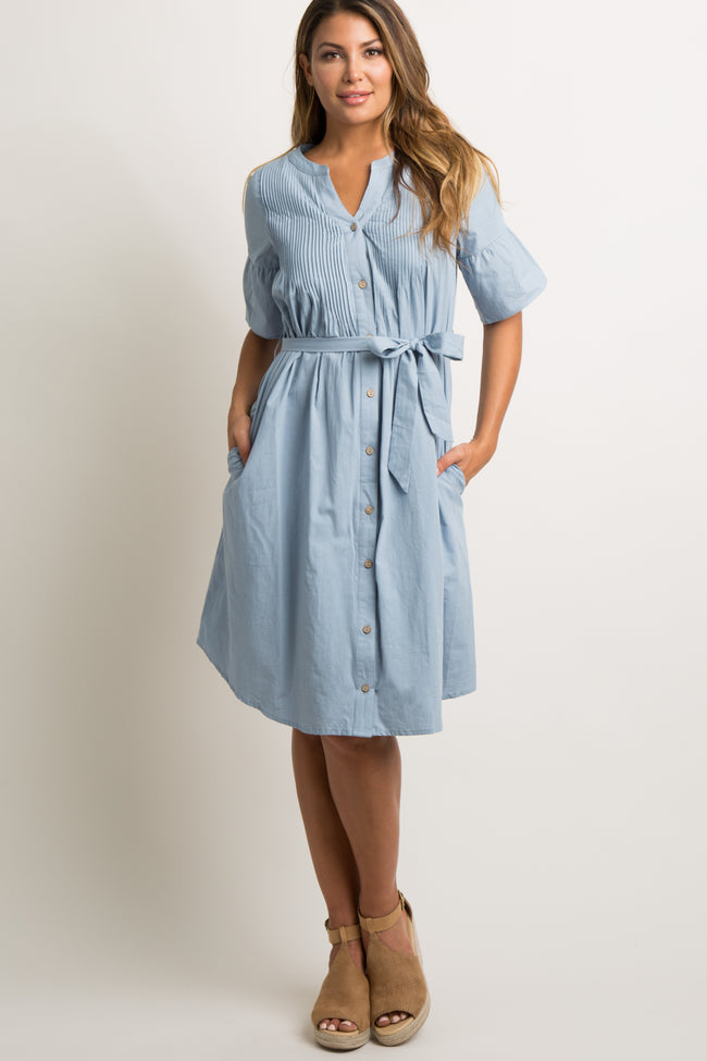 Blue Chambray Button Down Waist Tie Maternity Midi Dress