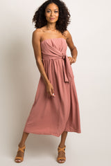 Mauve Solid Strapless Midi Dress