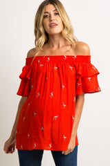 Red Flamingo Embroidered Off Shoulder Maternity Top