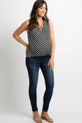 Black Striped Crisscross Draped Maternity Top