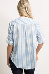 Blue Striped Button Draped Front Maternity Top