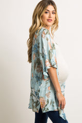 Light Blue Floral Bell Sleeve Maternity Kimono