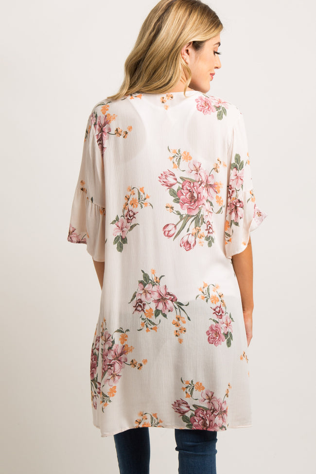 Light Pink Floral Ruffle Sleeve Maternity Cover Up