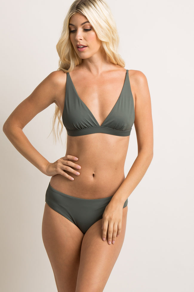 Charcoal Solid Triangle Bralette Maternity Bikini Top