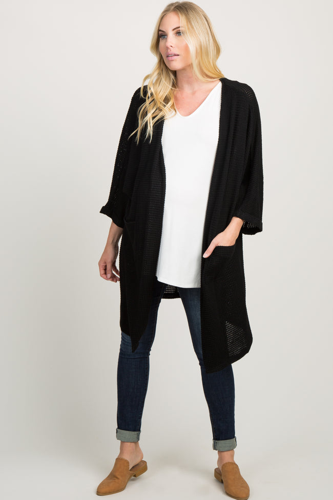 Black Pocket Front Knit Maternity Cardigan