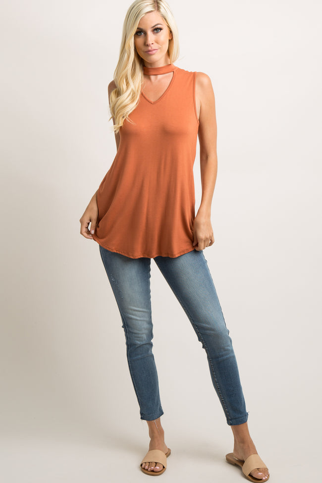 Orange Cutout Front V-Neck Top