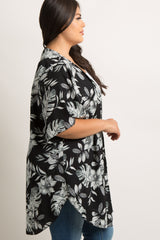 Black Floral Print Bell Sleeve Plus Cover Up