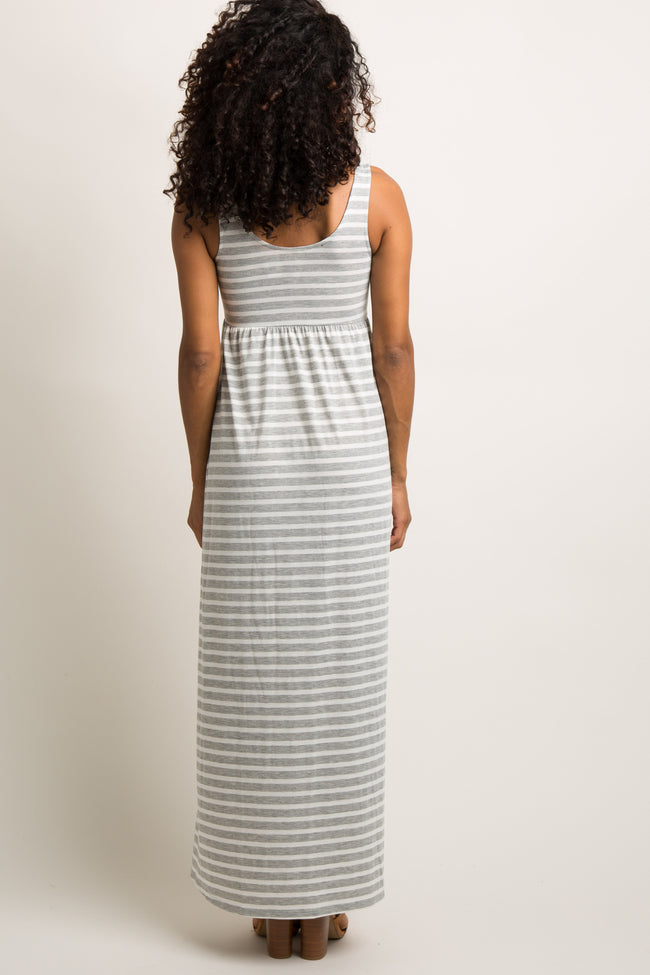 Heather Grey Striped Sleeveless Maxi Dress
