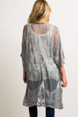 Grey Embroidered Crochet Mesh Maternity Cover Up