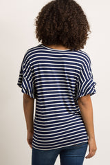 Navy Blue Striped Layered Sleeve Maternity Top