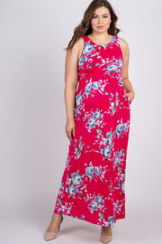 Magenta Floral Sleeveless Plus Maternity Maxi Dress