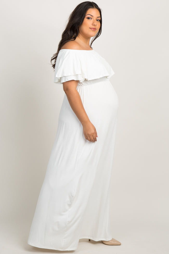 Ivory Off the Shoulder Flounce Maternity Plus Maxi Dress